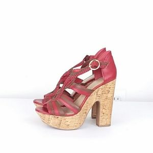 BCBGeneration Platform Open Toe Cork Heel